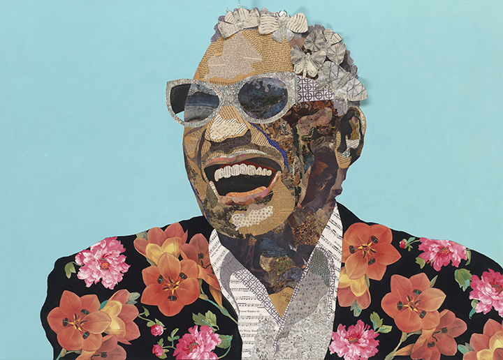 Brenda Bogart - RAY CHARLES - mixed media on canvas