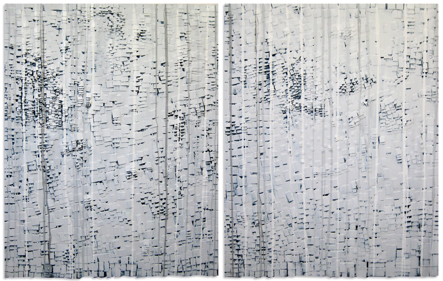 Artist Blair Vaughn-Gruler, WATER FLOWS DOWN, DIVIDED oil on wood on canvas, diptych 60