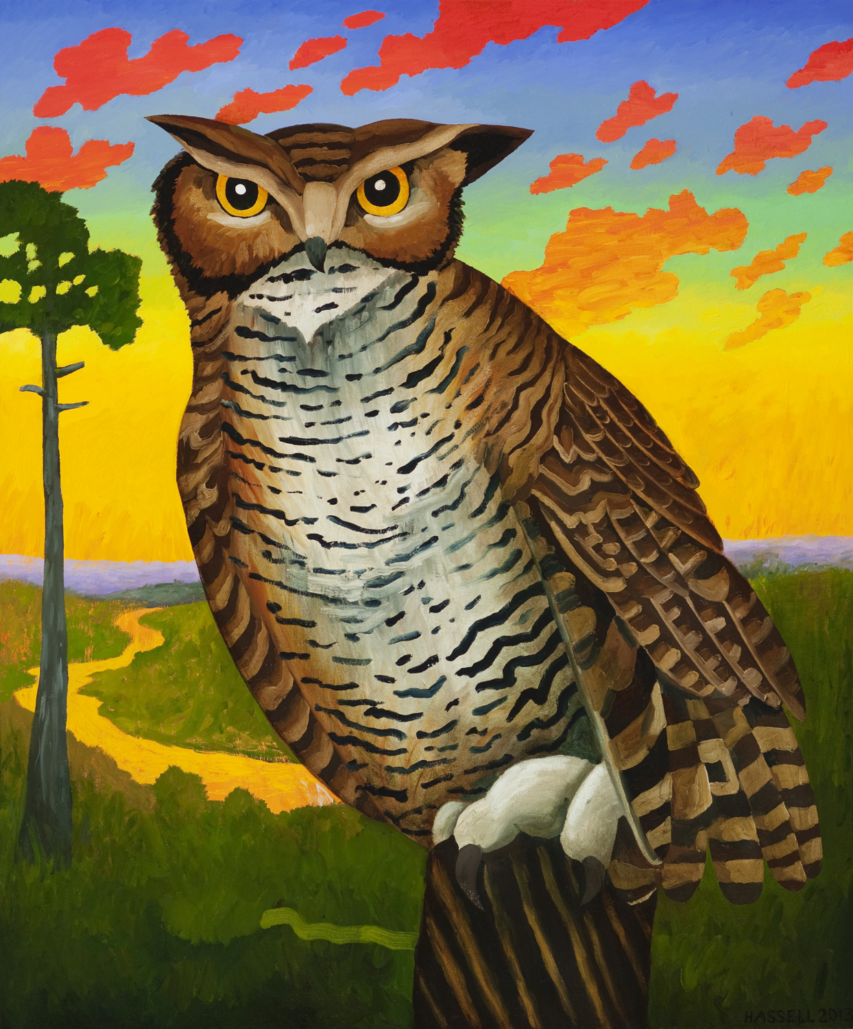 Billy Hassell, Horned Owl with Fiery Sky