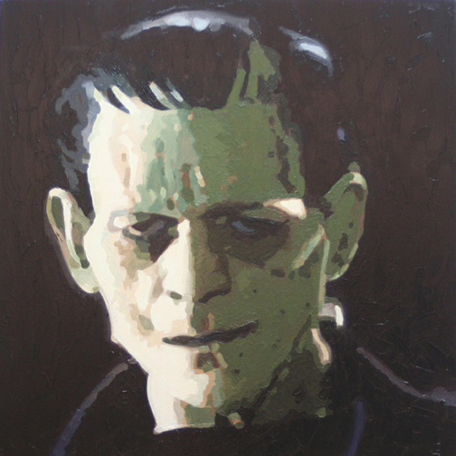 Artist Leslie Lanzotti Solomon, Green Frankenstein, oil on canvas 24
