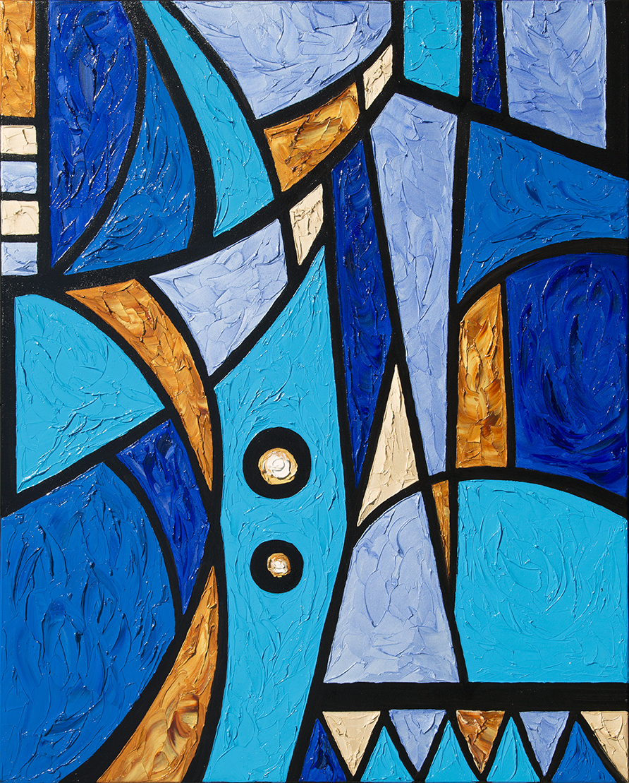 JD Miller | If Picasso Dreamed in Blue | 3D Oil on Canvas | 60 x 48