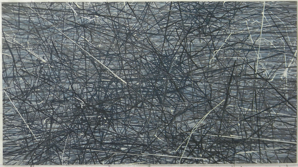 Sam Reveles, Iarnród No. 3, 2014, gouache on paper, 28 ½ x 51 inches.
