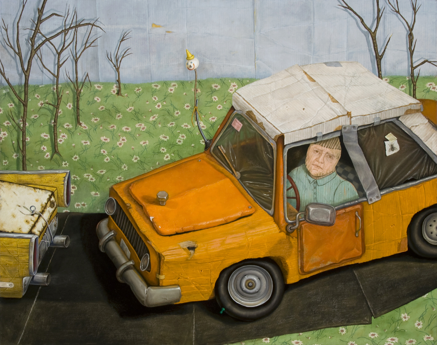 """The Painted Word: Idiot/Maniac, 2012, oil on linen, 38 x 48 inches, inspired by the quote """"Have you ever noticed that anybody driving slower than you is an idiot, and anyone going faster than you is a maniac?"""" —George Carlin"""