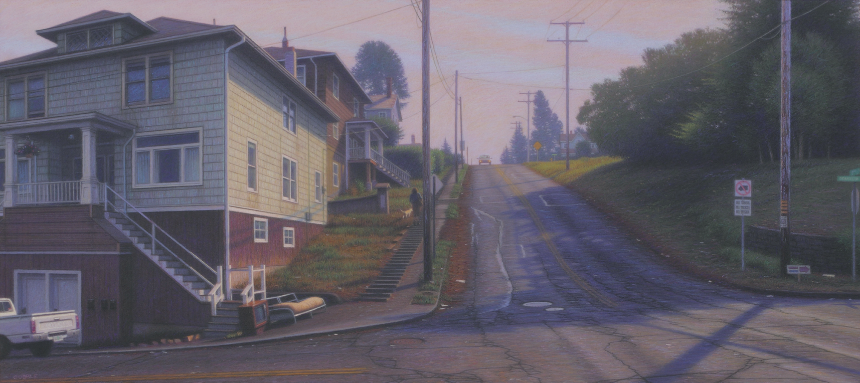 Franklin & 8th, 2014, pastel on Strathmore illustration board mounted on birch plywood, 15 1/8 x 33 7/8 inches