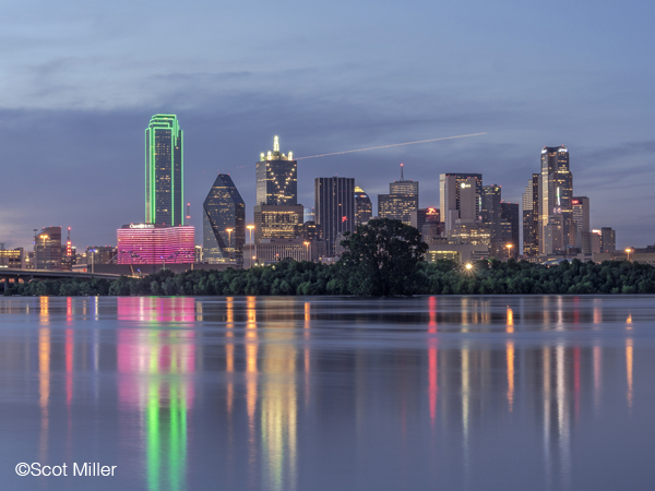 Fine photographic print of Downtown Dallas reflecting in the flooded Trinity River