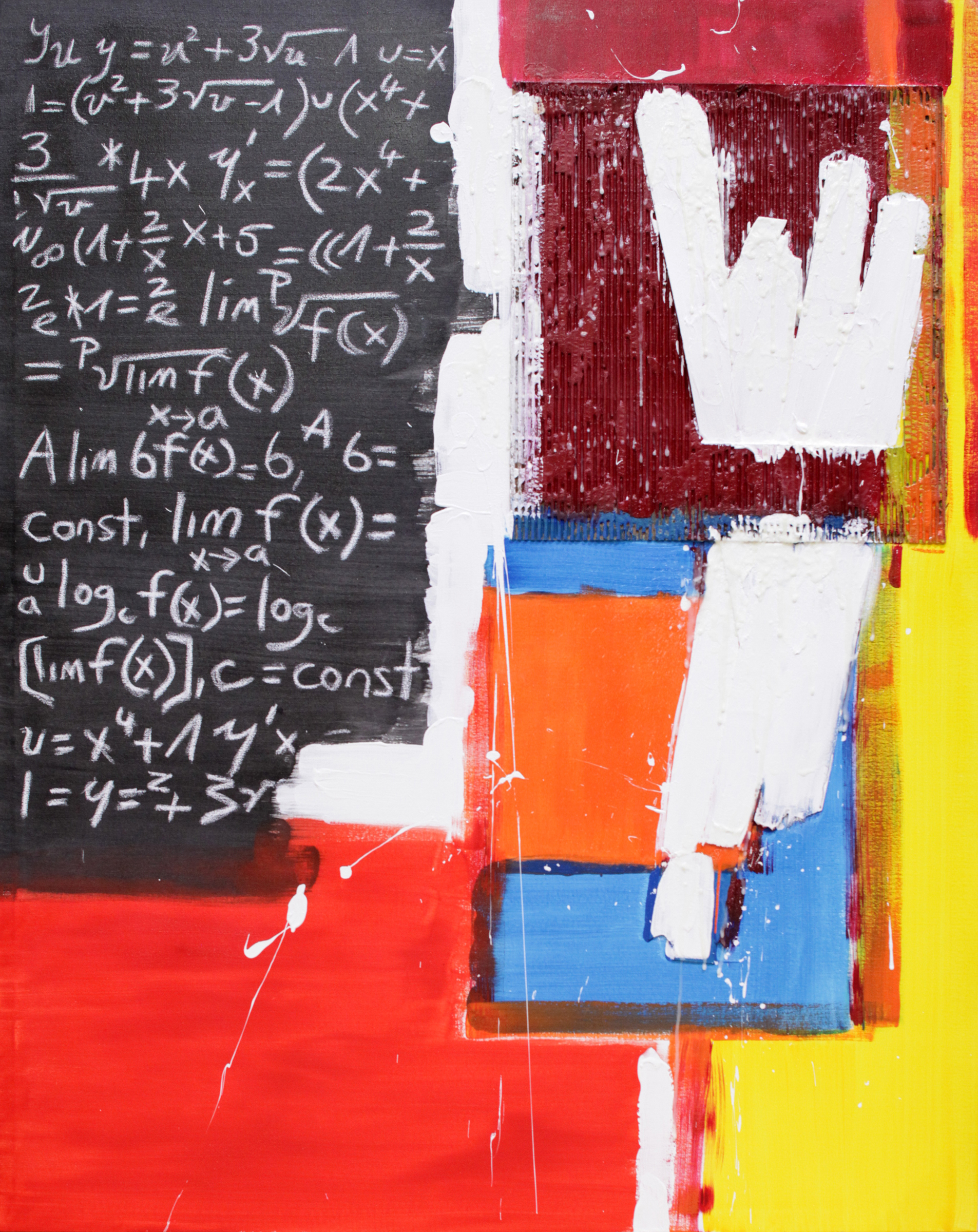 Bernie Taupin | Abacas | Acrylic, Cardboard, Wood, and Chalk on Canvas | 48 x 60