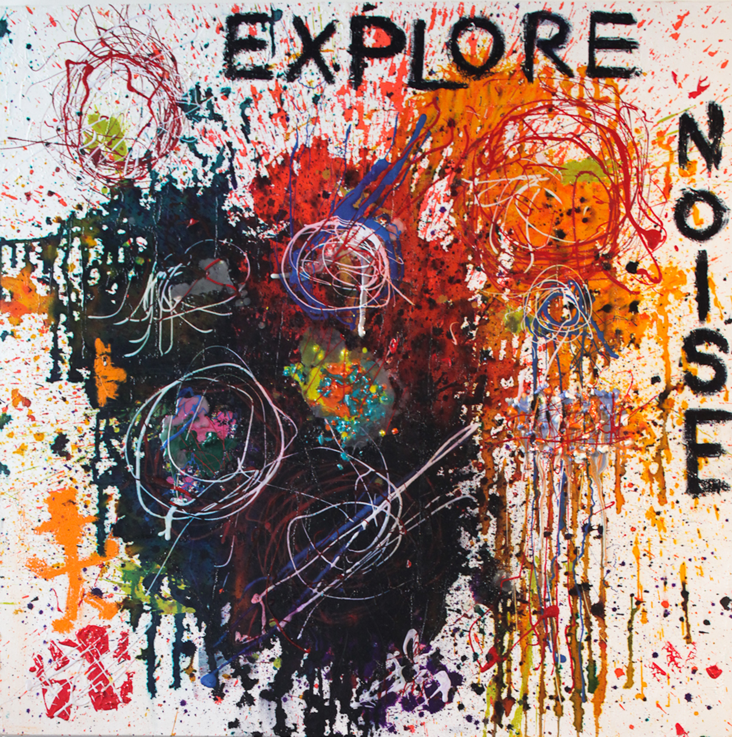 Bernie Taupin | Explore Noise | Acrylic, Wax, Oil Stick, and Fabric Paint on Canvas | 40 x 40