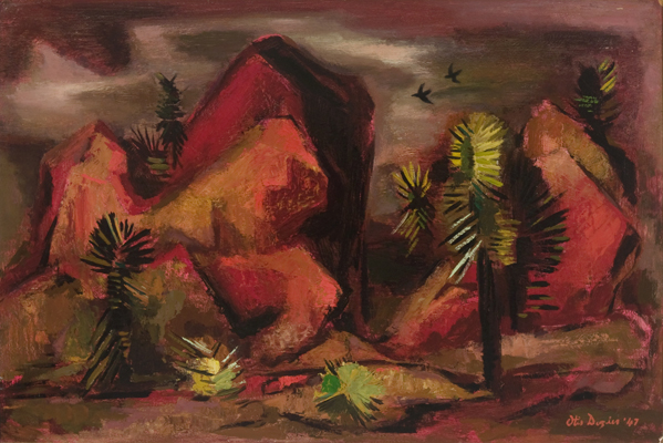 Otis Dozier, Place in the Desert, 1947, oil on panel, 20 x 30 inches