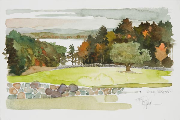Bart Forbes, Near Boston, 2007, watercolor on paper, 6 x 9 inches