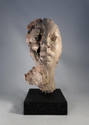 Michael O'Keefe, Indispensable Losses 14, 2014, fired and painted stoneware on granite base