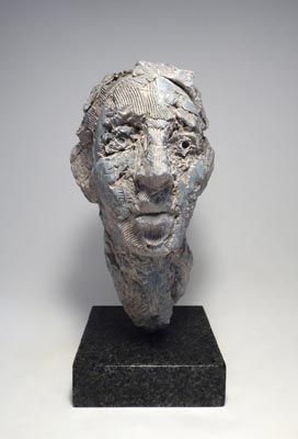 Michael O'Keefe, Indispensable Losses 6, 2014, fired and painted stoneware on granite base, 13 x 6 3/8 x 7 1/4 inches