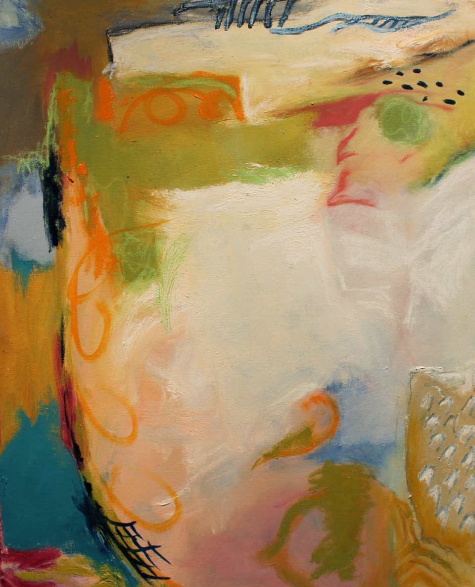 "Sherry Giryotas, ""Field's Edge"" oil stick and oil paint on canvas, 30""w x 24"