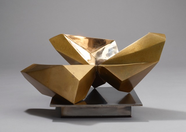 "Jud Bergeron:  ""Small Study"", 8""h x 12""w x 12""d, Cast Bronze and Stainless Steel"