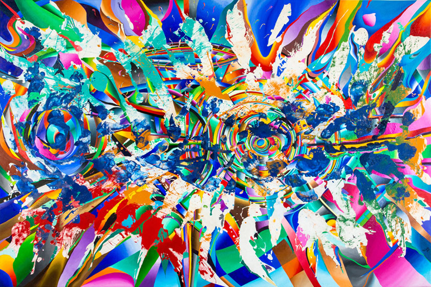 Artist Roy Tamboli, Domani Luminoso, oil, latex, enamel on canvas, 75 X 114 in.