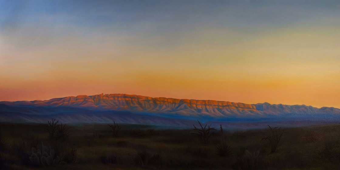 Artist Dawn Waters Baker, Sierra del Carmen, oil on canvas, 36 X 72 in.