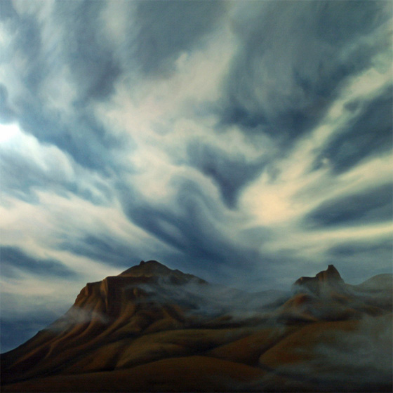 Artist Dawn Waters Baker, Smoke on the Mountain, oil on canvas, 55 X 55 in.