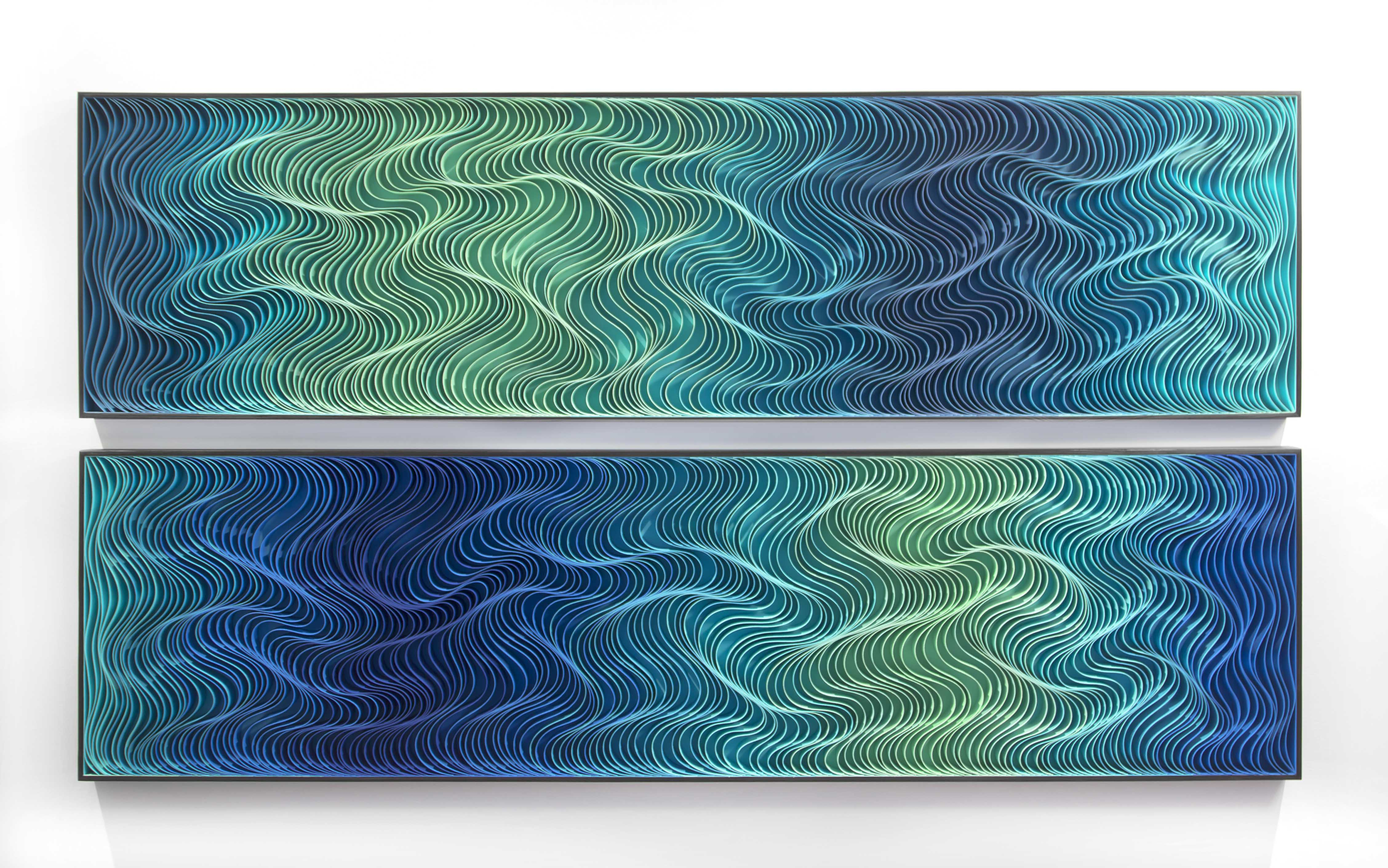 Stallman, 'High Dive' diptych, 2016, Sculpted canvas & acrylic on panel, 42h x 78w in.