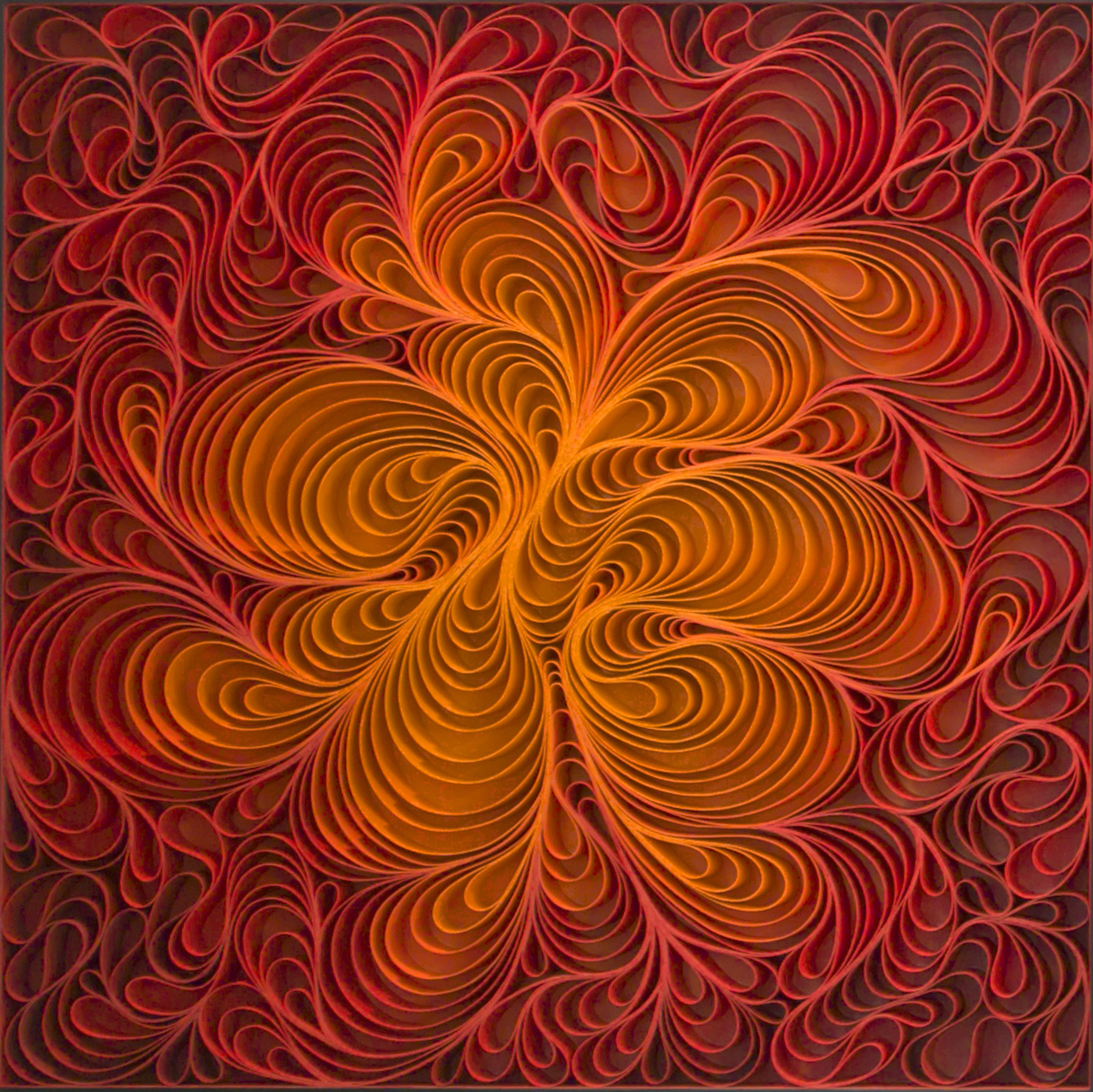 Stallman, 'Wildfire I', 2016, Sculpted canvas & acrylic on panel, 36h x 36w in.