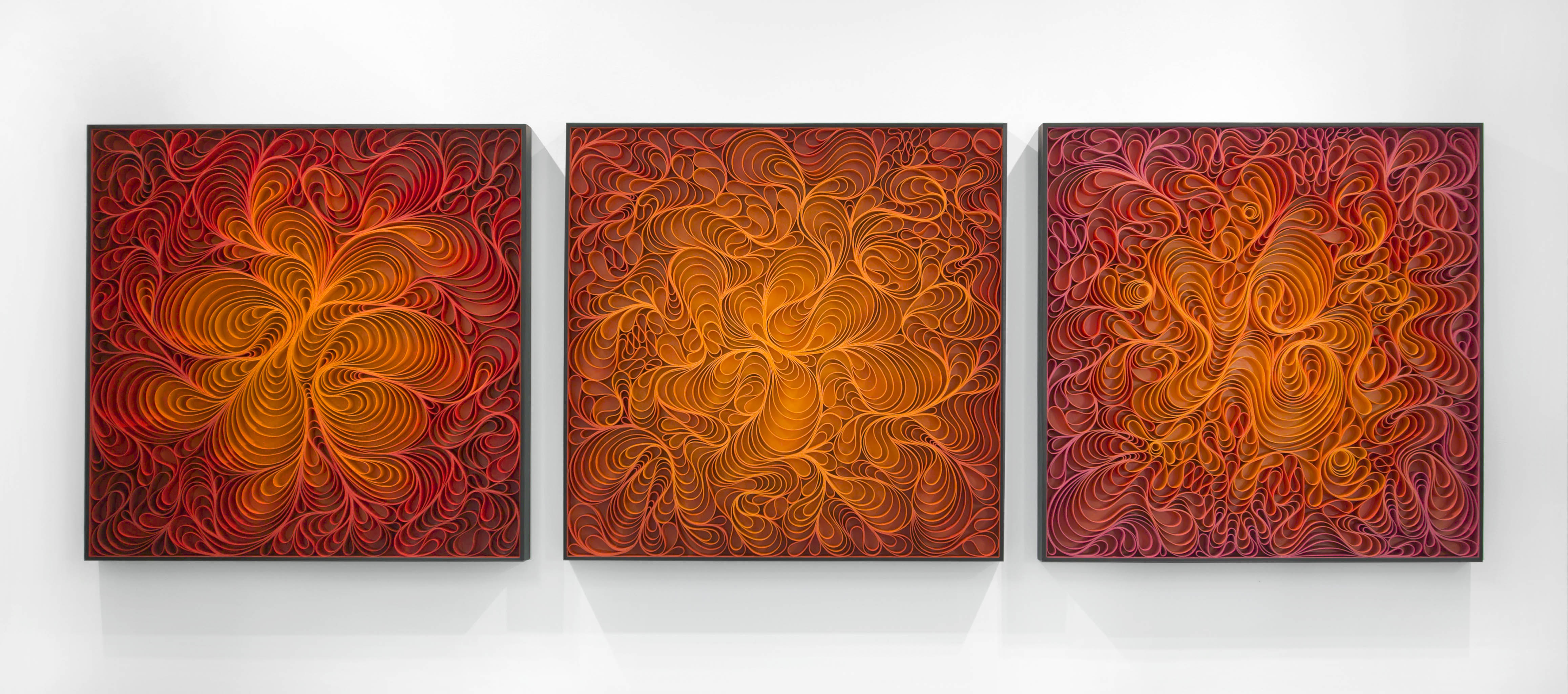 Stallman, 'Wildfire' triptych, 2016, Sculpted canvas & acrylic on panel, 36h x 108w in.