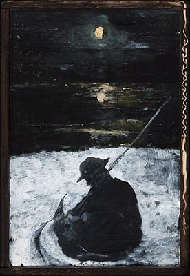 Miles Cleveland Goodwin, Fishing Under the Moon, 2016, oil on panel, 24 x 16