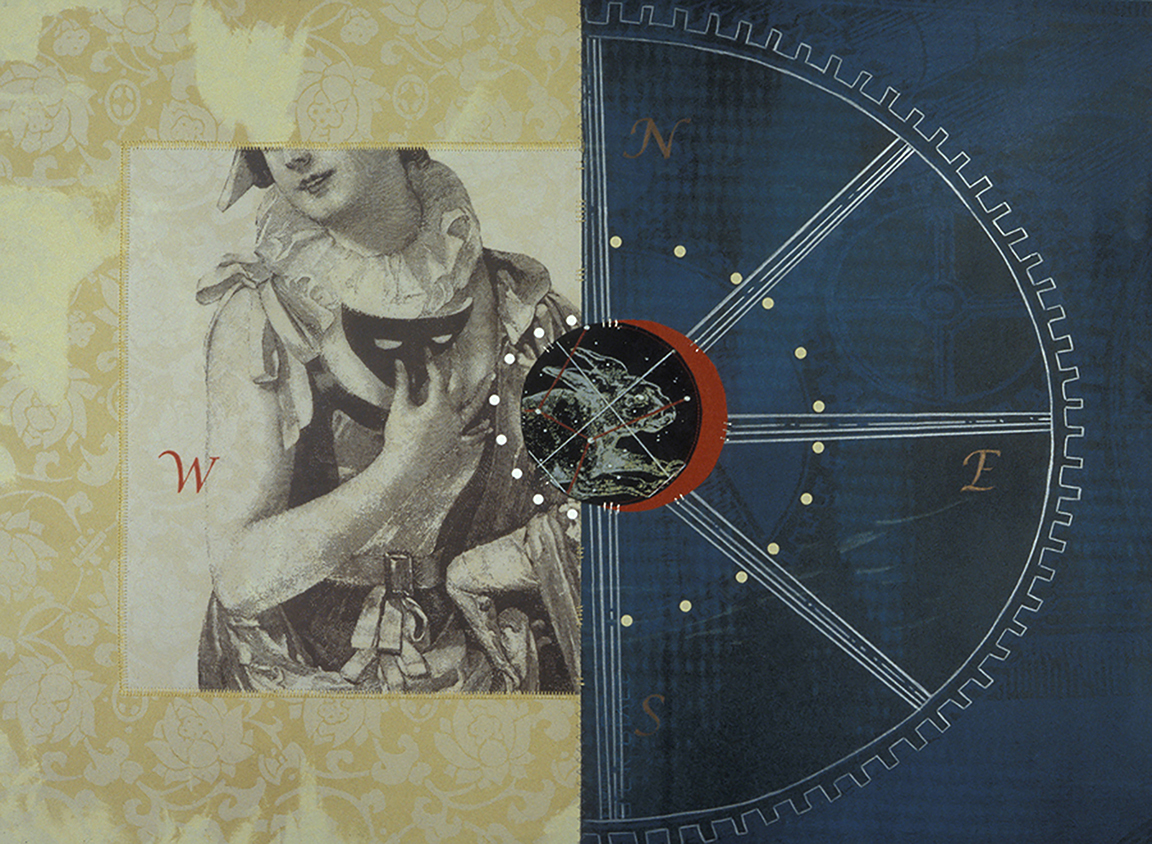 Michelle Martin, A Novice at Navigation, 2013. lithograph, serigraph, collage, hand sewing. 22 x 30.