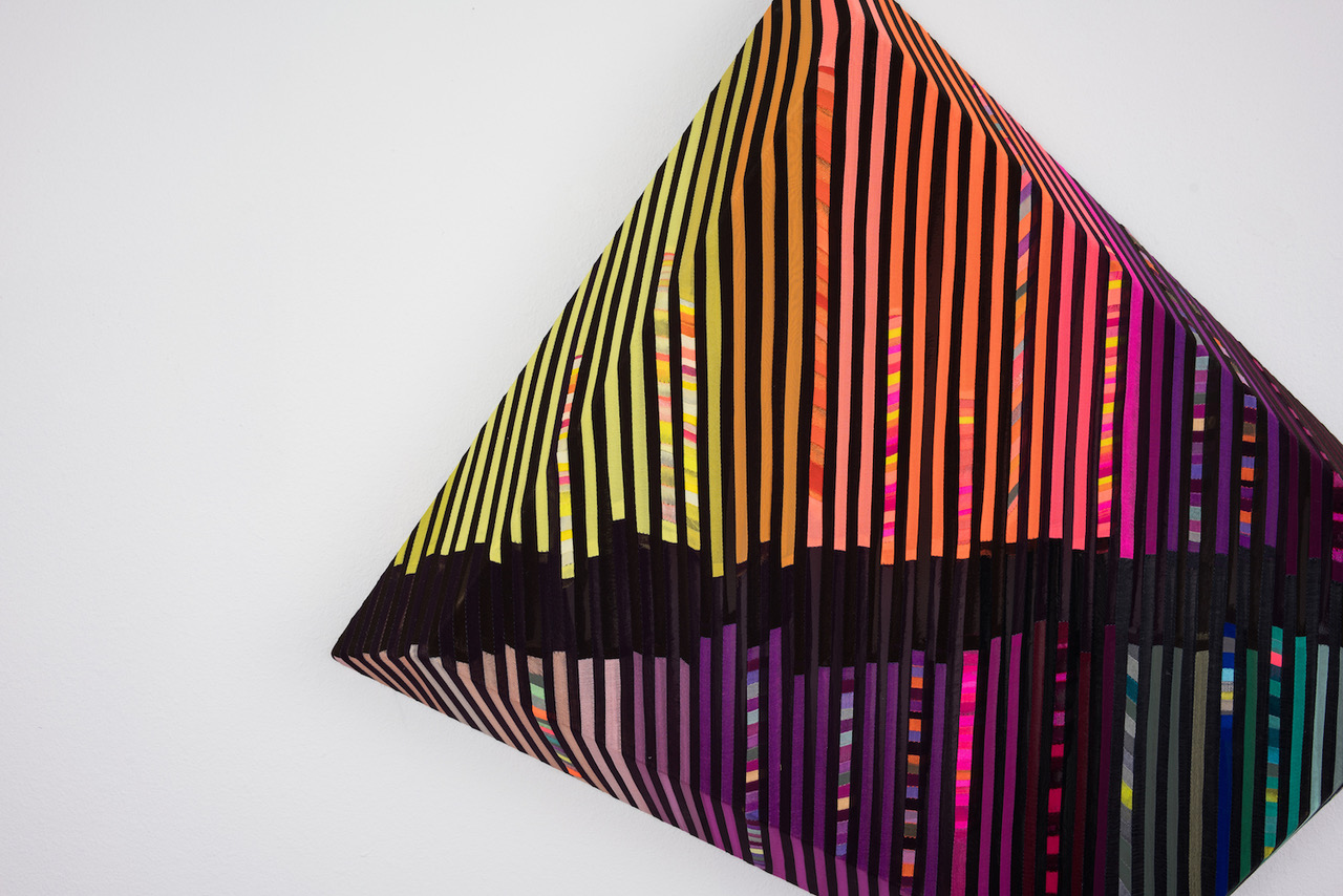 jen Pack 'Black Noise', fabric, tread, & wood