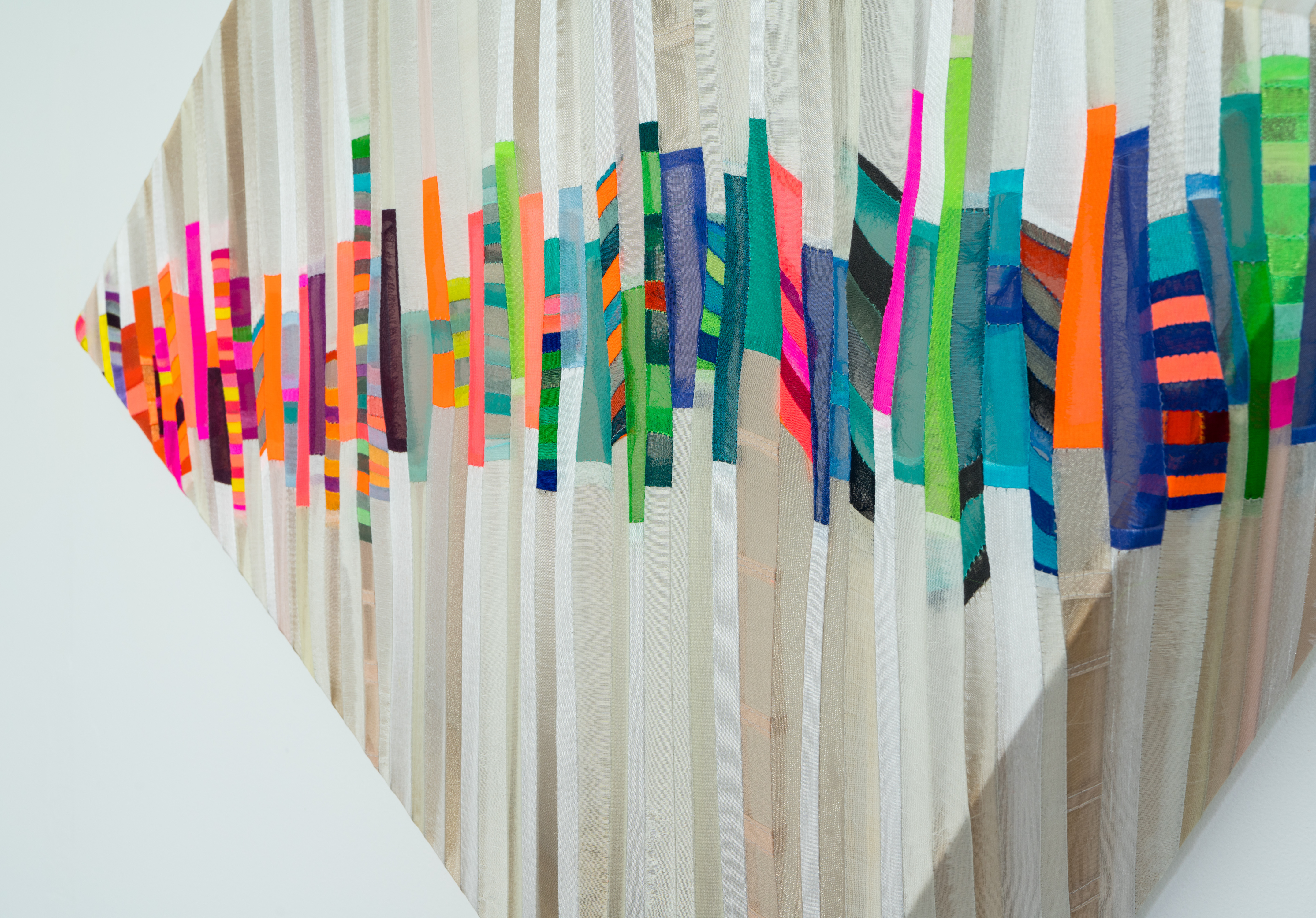 Jen Pack 'Phonic Borderland', fabric, tread, & wood