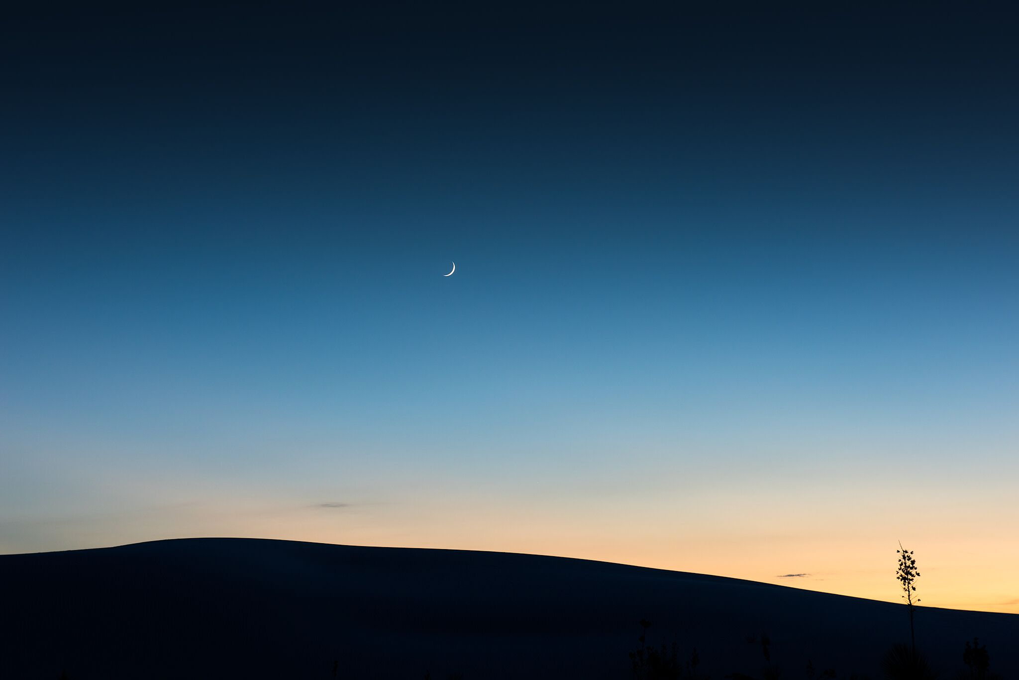 Under a Crescent Moon, Twilight, September 26, 2014, White Sands National Monument, New Mexico