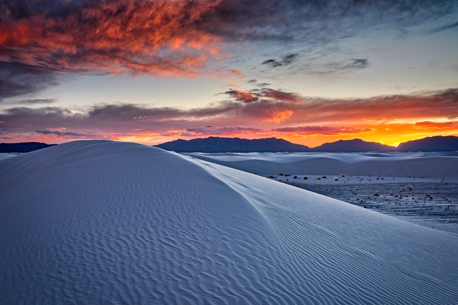 Red Sky and Dunes at Sunset, Autumn, White Sands National Monument, New Mexico