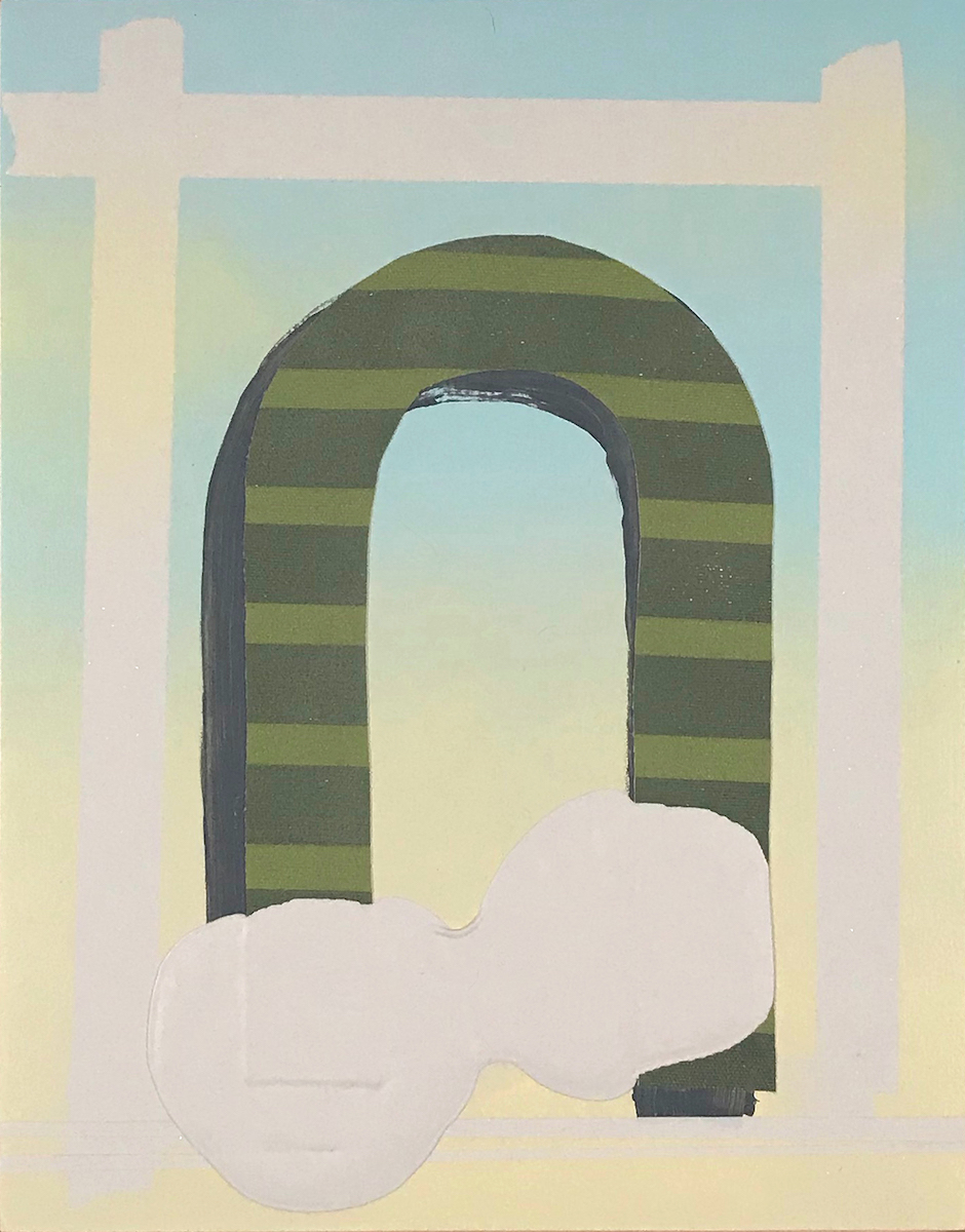 David Willburn 'Rainbow Gate Cloud Shape' 2019 acrylic, enamel on muslin, canvas, wooden panel