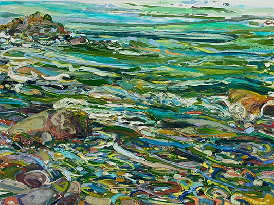 "Lilian Garcia-Roig, ""Cumulative Nature: Forest & Teal Green Rapids,"" 2019,  oil on canvas, 36 x 48 inches"